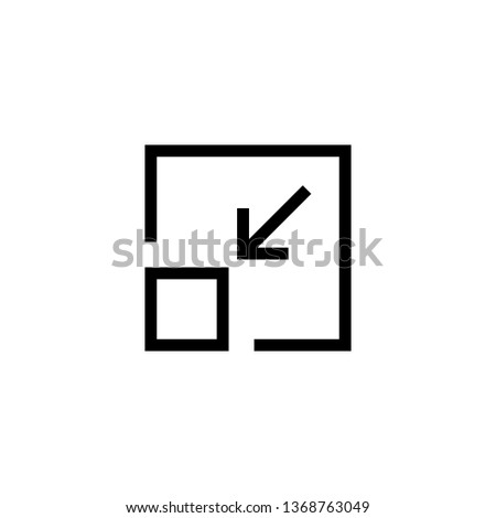 Minimize icon vector. Minimize vector illustration, pictogram isolated on black - Vector
