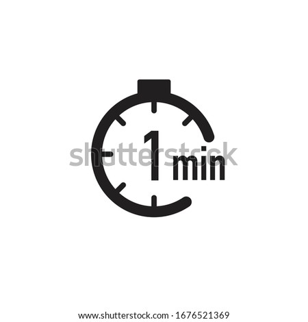 1 minute timer, stopwatch or countdown icon. Time measure. Chronometr icon. Stock Vector illustration isolated on white background. Stockfoto ©