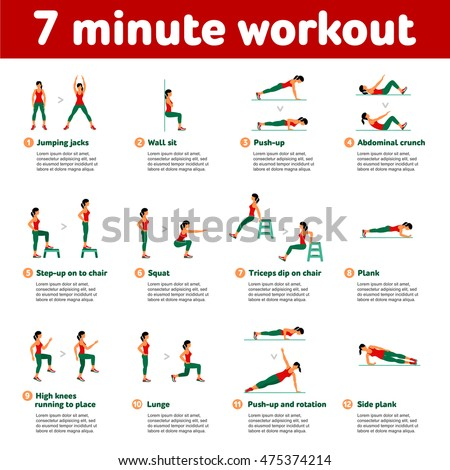 Stock Photo  7 minute workout. Fitness, Aerobic  and workout exercise in gym. Vector set of gym icons in flat style isolated on white background. People in gym. Gym equipment, dumbbell, weights, treadmill, ball.