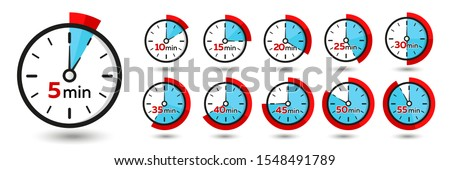 5, 10, 15, 20, 25, 30, 40, 45, 50, 55 Minutes Analog Clock Icons. Vector Time Symbol