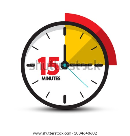 15 Minutes Clock Icon. Vector Fifteen Minute Symbol Isolated on White Background. Stockfoto ©