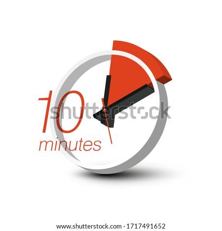 10 Minutes Clock Symbol. Ten Minute 3D Vector Stopwatch Icon.
