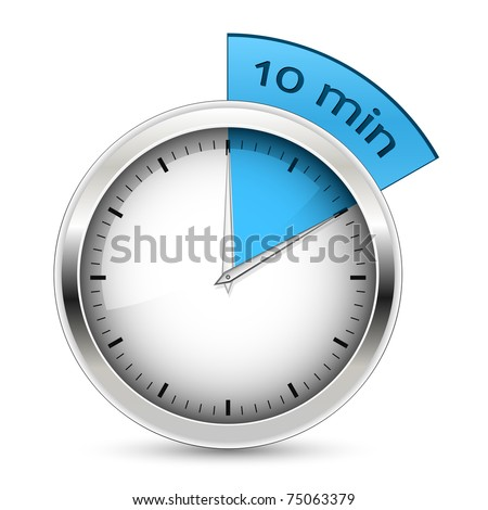 10 minutes timer. Office clock with blue 10 min segment