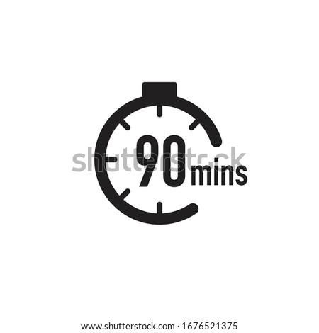 90 minutes timer, stopwatch or countdown icon. Time measure. Chronometr icon. Stock Vector illustration isolated on white background. Stockfoto ©