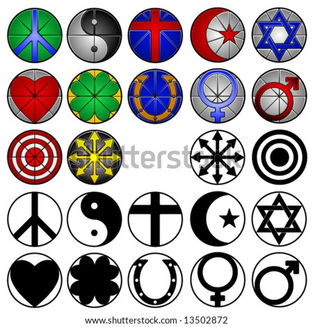 12 miscellaneous symbols in full color, stained glass style and black and white
