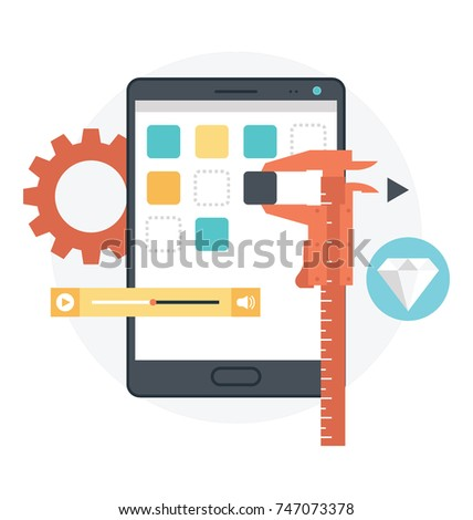 Mobile app development. Construction App development. App development vector