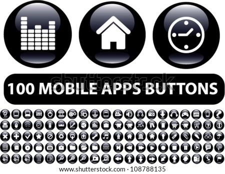 100 mobile apps black glossy buttons, icons set, vector