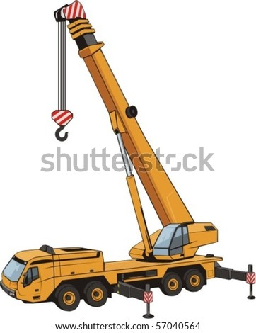 mobile crane with lifted by arrow