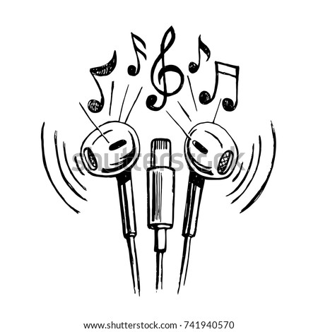 Mobile headphones doodle sketch style vector illustration with musical notes, hand drawing.