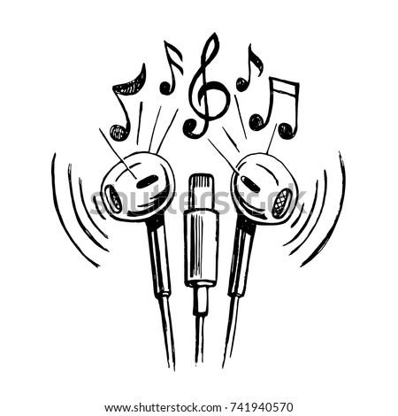 mobile headphones doodle