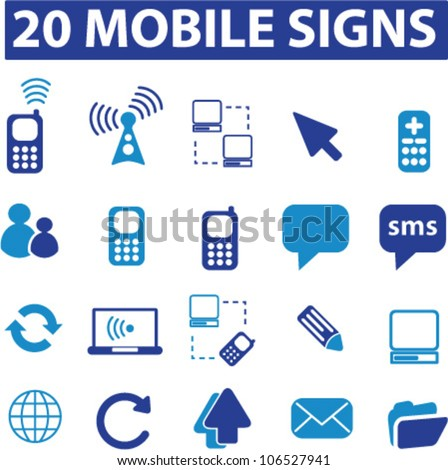 20 mobile icons set, vector