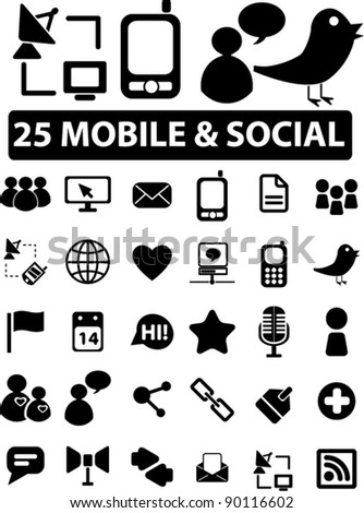 25 mobile & social icons set, vector illustrations
