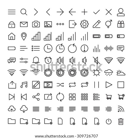 100 Mobile User Interface Icons