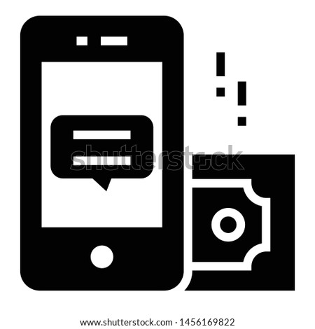 Mobile with banknote, mobile banking icon.