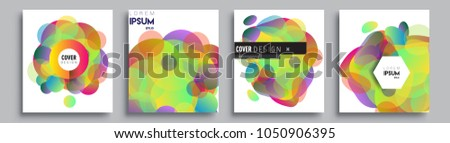 Modern abstract covers set. Cool gradient shapes composition and liquid colors, vector covers design. #1050906395