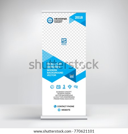 Modern advertising banner, roll-up, design for placement of photos and text. Stand for conferences and business forums, stylish blue vector background