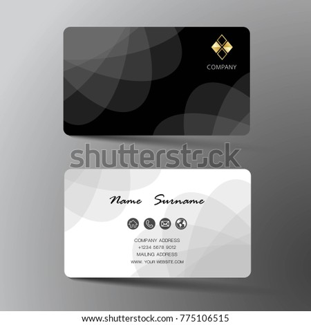 Two sided business card vector design download free vector art modern business card template design with inspiration from the abstract contact card for company flashek Choice Image