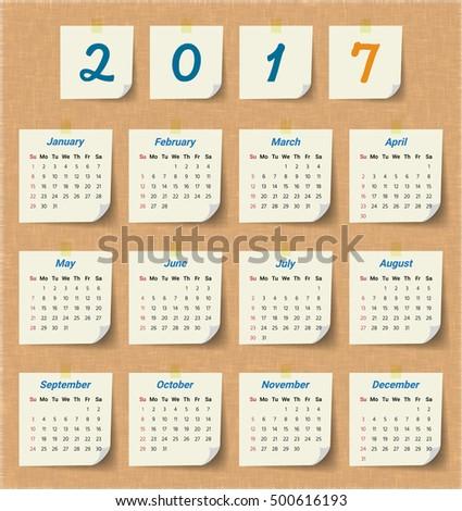 2017 Modern Calendar Template .Vector/Illustration. - 500616193 ...