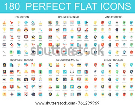 180 modern flat icon set of education, online learning, brain mind process, business project, economics market icons.