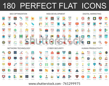 180 modern flat icons set of seo optimization, web development, digital marketing, network technology, cyber security and productivity icons.