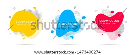 3 Modern liquid abstract element shape memphis style design fluid vector colorful illustration set. Banner simple shape template for presentation, flyer, brochure isolated on white background.