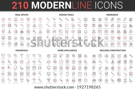 210 modern red black thin line icons set of household, home appliances, building construction, real estate, design tools, insurance collection vector illustration.