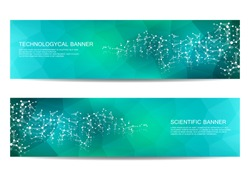 2 modern scientific banners. Molecule structure of DNA and neurons. Abstract background. Medicine, science, technology, business and website templates. Scalable vector graphics.