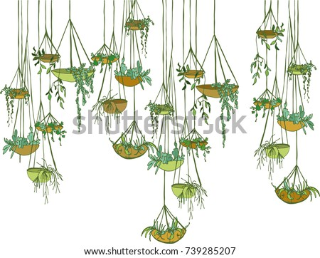modern suspended  pots with