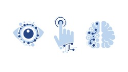 modern technology icons set: computer vision, artificial intelligence, machine learning. Isolated flat logos - robot arm, tech brain, electronic eye