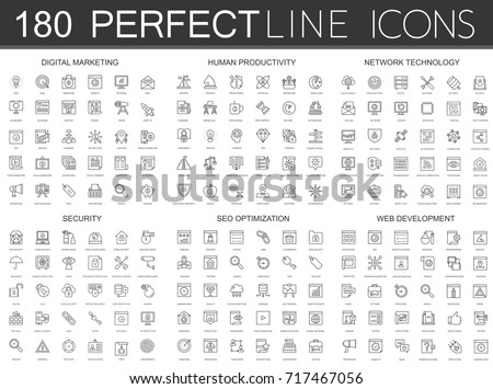 180 modern thin line icons set of digital marketing, human productivity, network technology, cyber security, SEO optimization, web development. #717467056