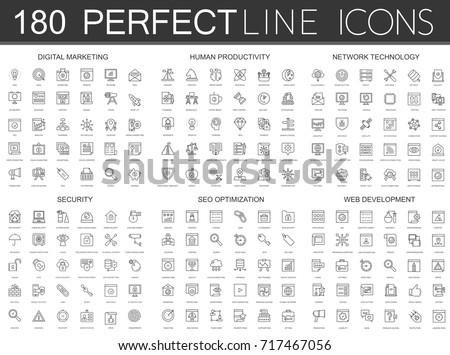180 modern thin line icons set of digital marketing, human productivity, network technology, cyber security, SEO optimization, web development.
