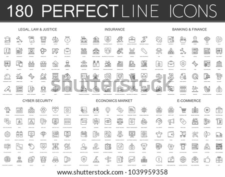 180 modern thin line icons set of legal, law and justice, insurance, banking finance, cyber security, economics market, e commerce.