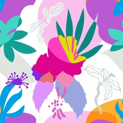 Modern tropical art. Vector pattern with stylized geometric leaves and flowers. Summer swimwear textile collection. Colorful on white.