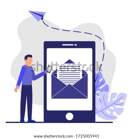 Modern vector illustration, envelope containing letters in a smartphone, receiving letters, sending, web letters, or cellular service layout for website titles.