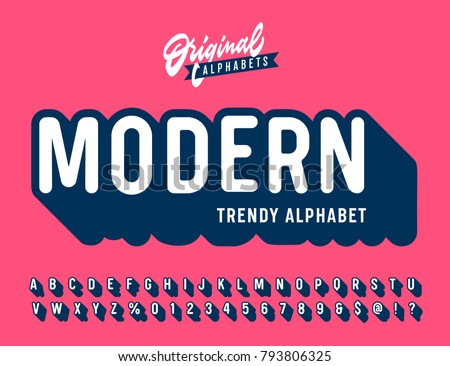 'Modern' Vintage 3D Sans Serif Rounded Alphabet with Long Shadow Effect. Retro Typography. Vector Illustration.