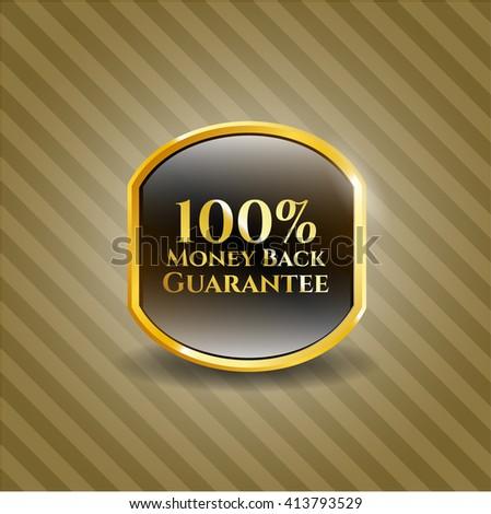 100% Money Back Guarantee gold emblem