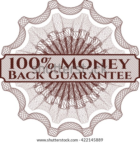 100% Money Back Guarantee rosette (money style emplem)
