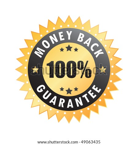 100% money back guarantee sticker