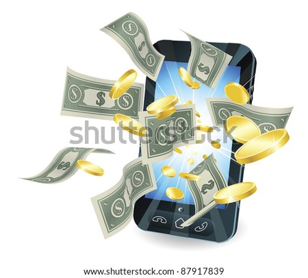 Money flying out of new style smart mobile phone.