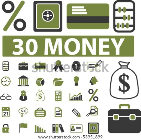 30 money signs. vector