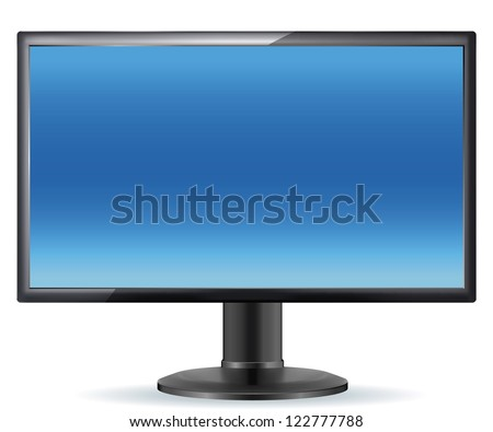 Monitor LCD, tv, realistic vector illustration. EPS-10