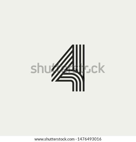 4 monogram. Abstract letter 4 logo design. Line creative symbol. Logo branding. Universal vector icon - Vector Stockfoto ©