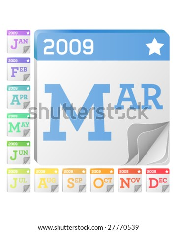 2009 Month Calendar Icons - Each month has its own graphics for use on websites, print or desktop applications