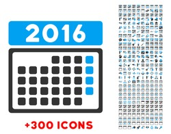 2016 Month Syllabus vector pictogram with additional 300 date and time management icons. Style is bicolor flat symbols, blue and gray colors, rounded angles, white background.