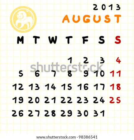 2013 monthly calendar August with Leo zodiac sign stamp
