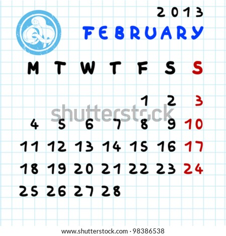 2013 monthly calendar February with Aquarius zodiac sign stamp