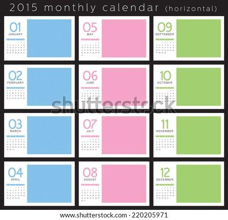 2015 monthly calendar horizontal #220205971