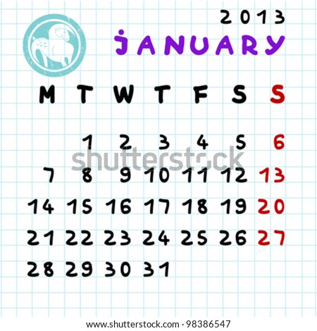 2013 monthly calendar January with Capricorn zodiac sign stamp