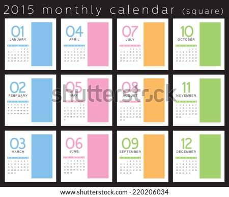 2015 monthly calendar vertical