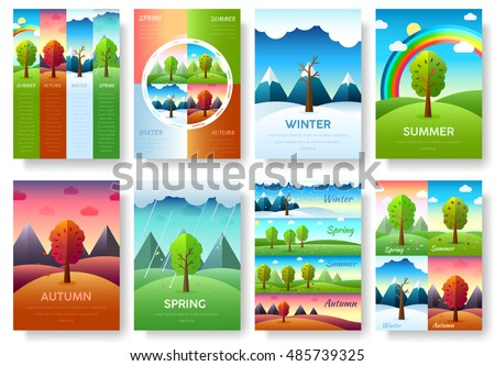 12 Months of the Year. Weather year information set. Seasons banners. Infographic concept background. Layout illustrations template pages with typography text